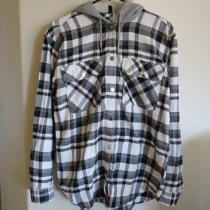 Oversized Hooded Plaid Flannel Button Up